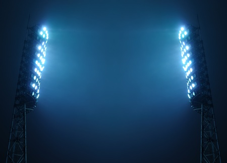 Stadium Floodlights against Dark Night Sky with Copy Space