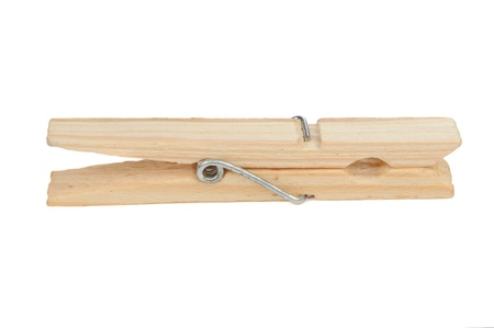 clothespin: Wooden Clothespin Isolated on White Background