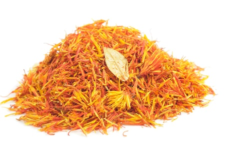 ersatz: Pile of Safflower  Substitute for Saffron  Isolated on White Background