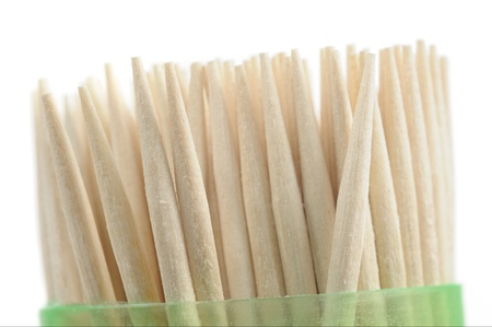 Wooden Toothpicks in Plastic Container on White Background Stock Photo - 17006445