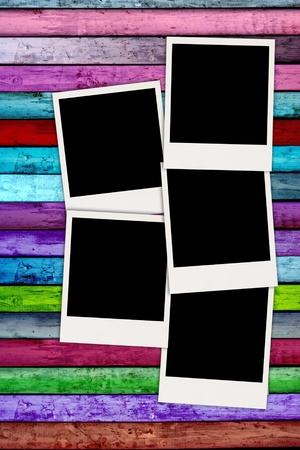 recollections: Five Blank Photos on Colorful Striped Wood Background