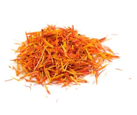 ersatz: Safflower (Saffron Substitute) Isolated on White Background Stock Photo