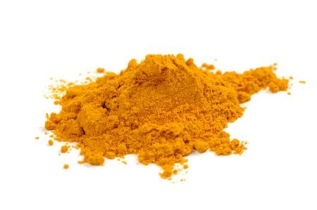curcumin: Turmeric (Curcuma) Powder Isolated on White Background