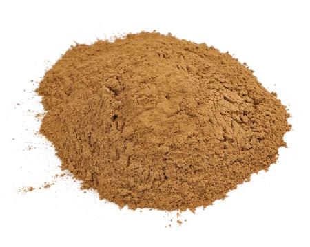 Ground Cassia (Cinnamon) Isolated on White Background Standard-Bild