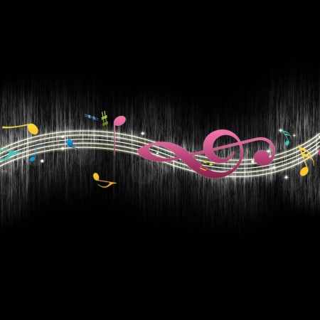 Dancing Music Notes on Musical Staff Against Black Background photo