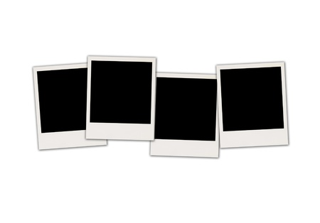 recollections: Four Blank Photos Isolated on White Background
