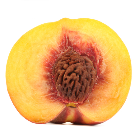 Half of Peach Isolated on White  photo