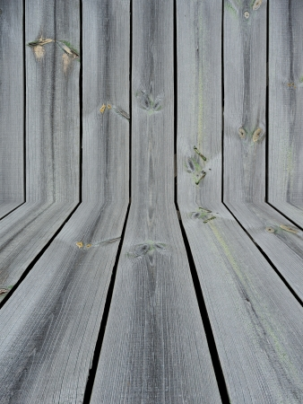 unpainted: Unpainted knotted wooden wall and floor as a background Stock Photo