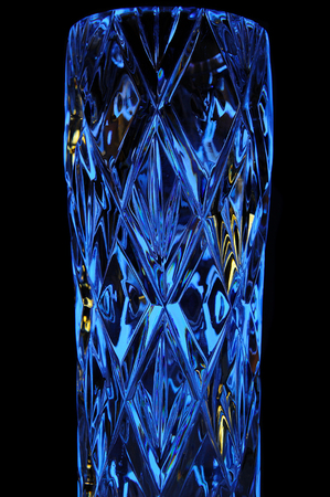 cutglass: Decorative Crystal Vase in Blue Light