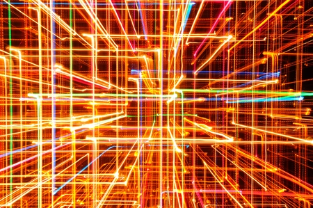3D Abstract Bright Multicolored Glowing Lines as Background photo