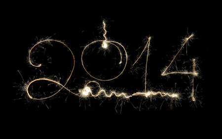 New Year 2014 Sparkling Holiday Design On Black Background photo