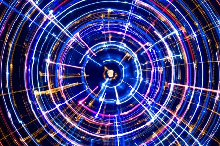 Multicolored Glowing Electric Circle  Фото со стока