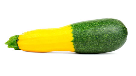 marrow squash: Hybrid Green and Golden Zucchini Isolated on White Background Stock Photo