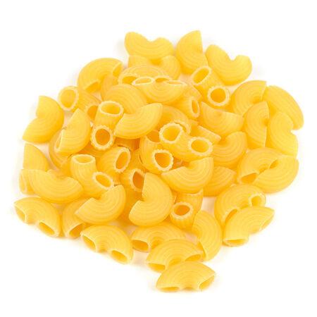 shafts: Raw Elbow Macaroni or Gomiti Pasta Isolated on White Background