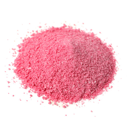 concentrate on: Pile of Fruit Juice Powder Concentrate Isolated on White Background Stock Photo