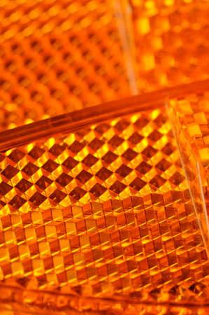 baffle: Orange Retroreflectors Macro Stock Photo