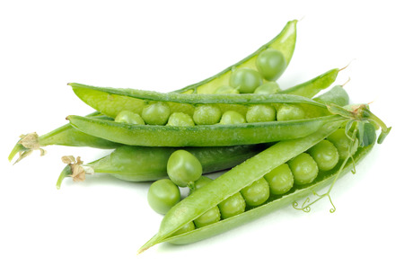 Green Peas in Pods Isolated on White Background Zdjęcie Seryjne