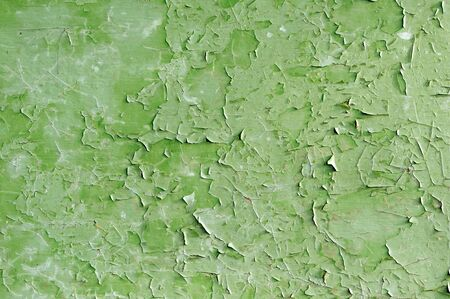 Green Cracked Painted Wall as Background photo