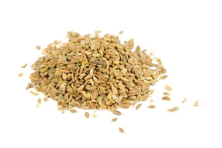 Wortel zaden geïsoleerd op witte achtergrond Stockfoto