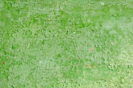 crackles: Green Peeling Paint on the Wall Stock Photo
