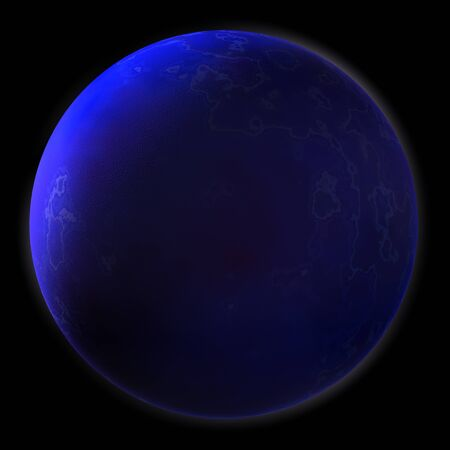 Realistic Blue Planet Isolated on Black Background photo