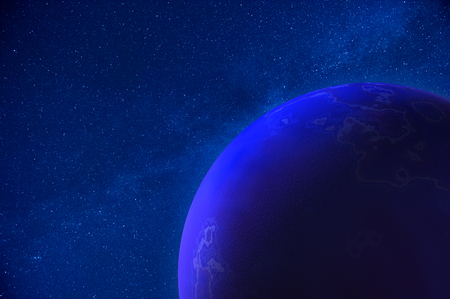 Real Night Sky with Stars and 3D Planet photo