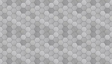 Futuristic Hexagonal Aluminum Tiled Seamless Texture Archivio Fotografico