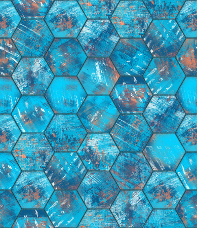Hexagonal Blue Grungy Metal Tiled Seamless Texture photo