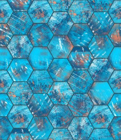 Hexagonal Blue Grungy Metal Tiled Seamless Texture photo