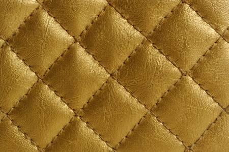 Golden Quilted Leather Background photo
