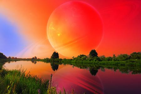 other world: Fantastic Landscape with Large Planet over Tranquil River