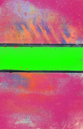 squalid: Grungy Pink Background with Acid Green Stripe Stock Photo