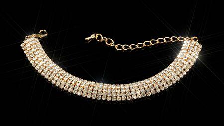 Gold Diamond Bracelet on Black Background photo