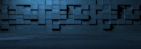 Futuristic Empty Metal Room Standard-Bild