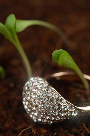 diamond ring: Gold Diamond Ring with Green Plants
