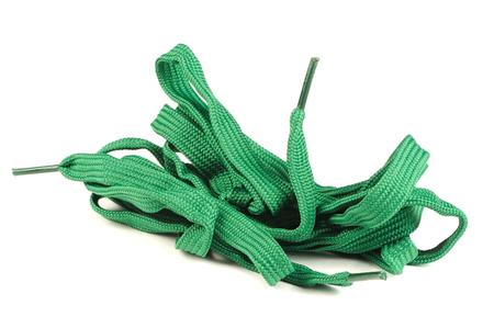 shoelaces: Green Shoelaces Isolated on White Background