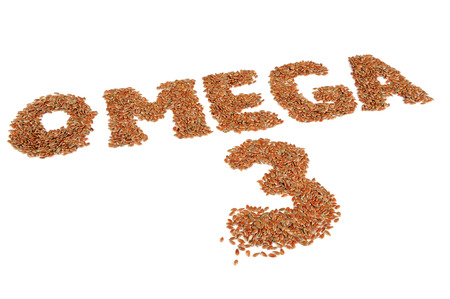 omega 3: Omega 3 Written in Flax Seeds Isolated on White Background
