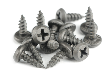 drywall: Drywall Plasterboard Screws Isolated on White Background Stock Photo