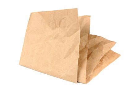 creasy: Folded Paper Isolated on White Background Stock Photo