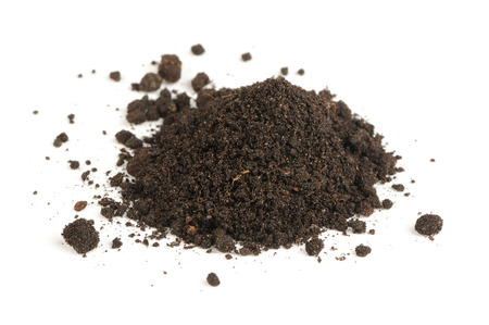 Pile of Soil Isolated on White Background Imagens
