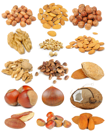 pine nuts: Nut set including hazelnuts, almonds, walnuts, peanuts, pine nuts, coconut, brazil nuts and chestnuts isolated on white background Stock Photo