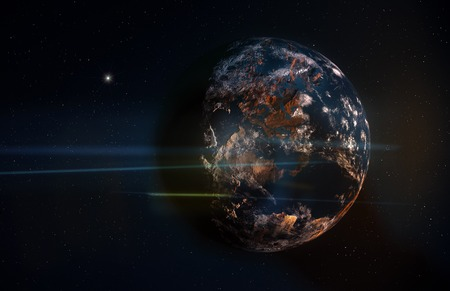 terrestrial: Planet in Space with Stars and Anamorphic Flares