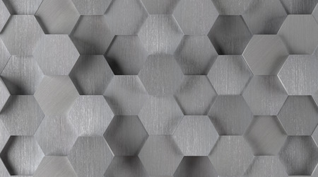Silver Hexagonal Tile Background Lights On