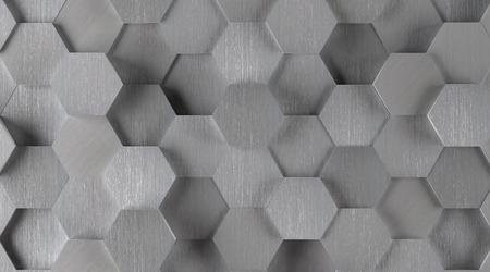 silver hexagonal tile background lights on photo