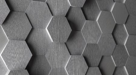 3D 육각형 알루미늄 타일 배경 스톡 콘텐츠