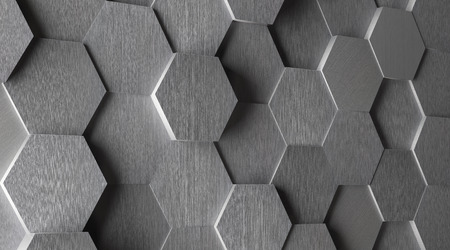brushed: 3D Hexagonal Aluminum Tile Background