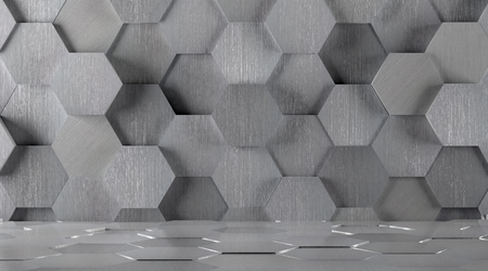 Hexagonal Tiled Metal Room Background Zdjęcie Seryjne