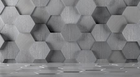 tiled: Hexagonal Tiled Metal Room Background Stock Photo