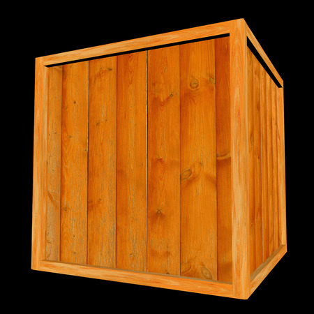 wood planks: Wooden Crate on Black Background