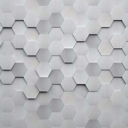 Brushed Metal Hexagon Achtergrond Stockfoto
